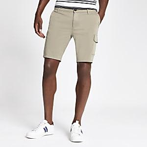 Sid – Hellbraune Skinny Utility Shorts