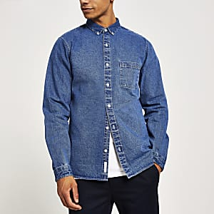 Blaues, langärmeliges Regular Fit Jeanshemd