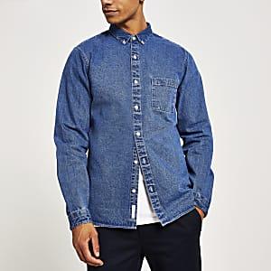 Blauw denim overhemd met lange mouwen en normale pasvorm