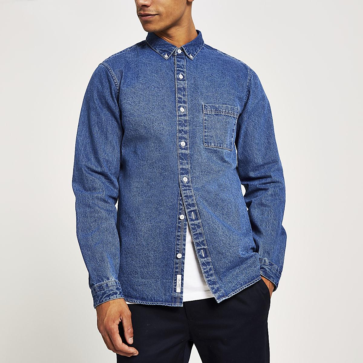 Chemise coupe classique en jean bleu et manches longues