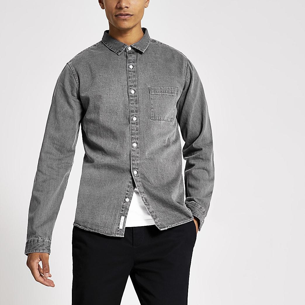 Grey regular fit button up denim shirt