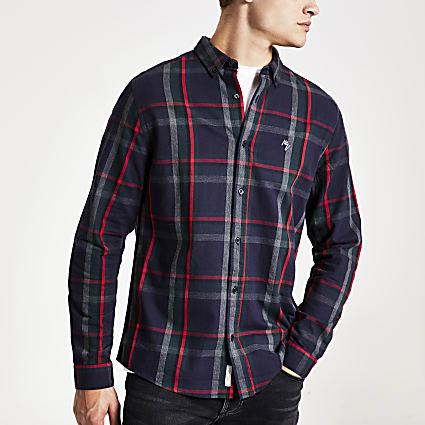 Navy check print long sleeve slim fit shirt