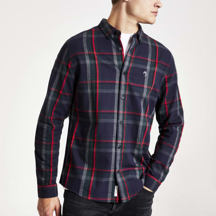 Navy check print long sleeve slim fit shirt