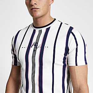 Wit gestreept slim-fit T-shirt