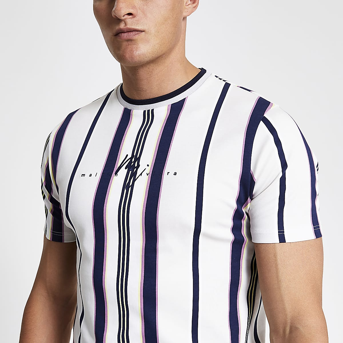 White stripe slim fit T-shirt