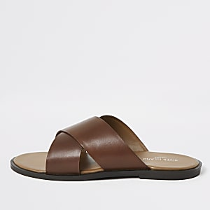 Brown leather cross strap sandals