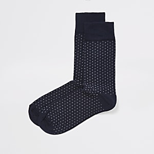 Navy spot print socks