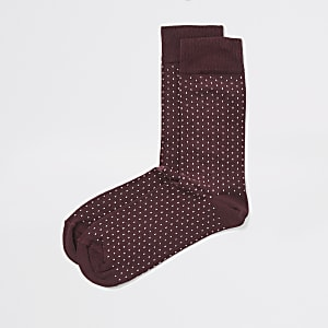 Burgundy spot print socks