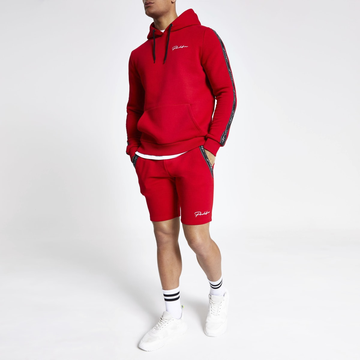 Red 'Prolific' muscle fit jersey shorts