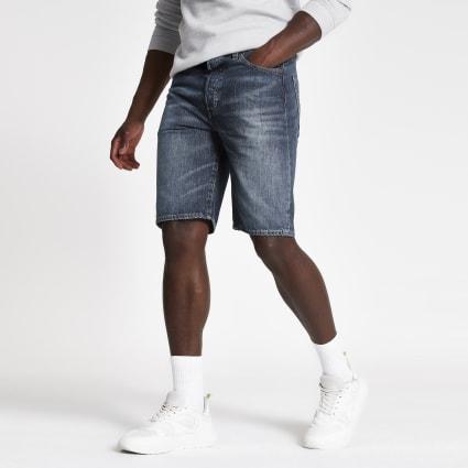 Levi's dark blue 501 denim shorts