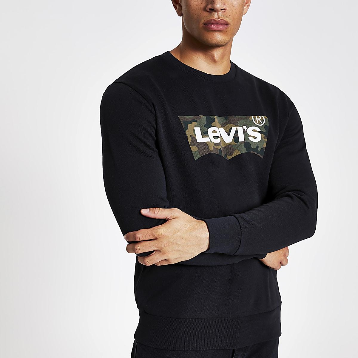 Levi's - Sweatnoir camouflage avec logo imprimé