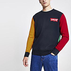 Levi's - Marineblauw sweatshirt met kleurvlakken