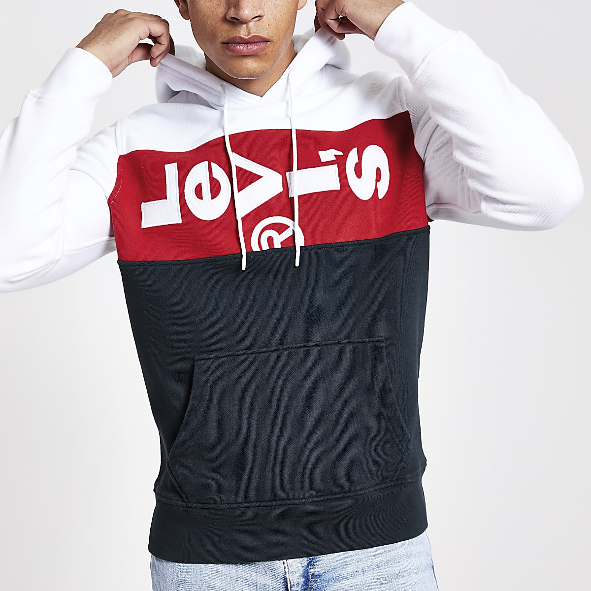 Levi's white block hoodie