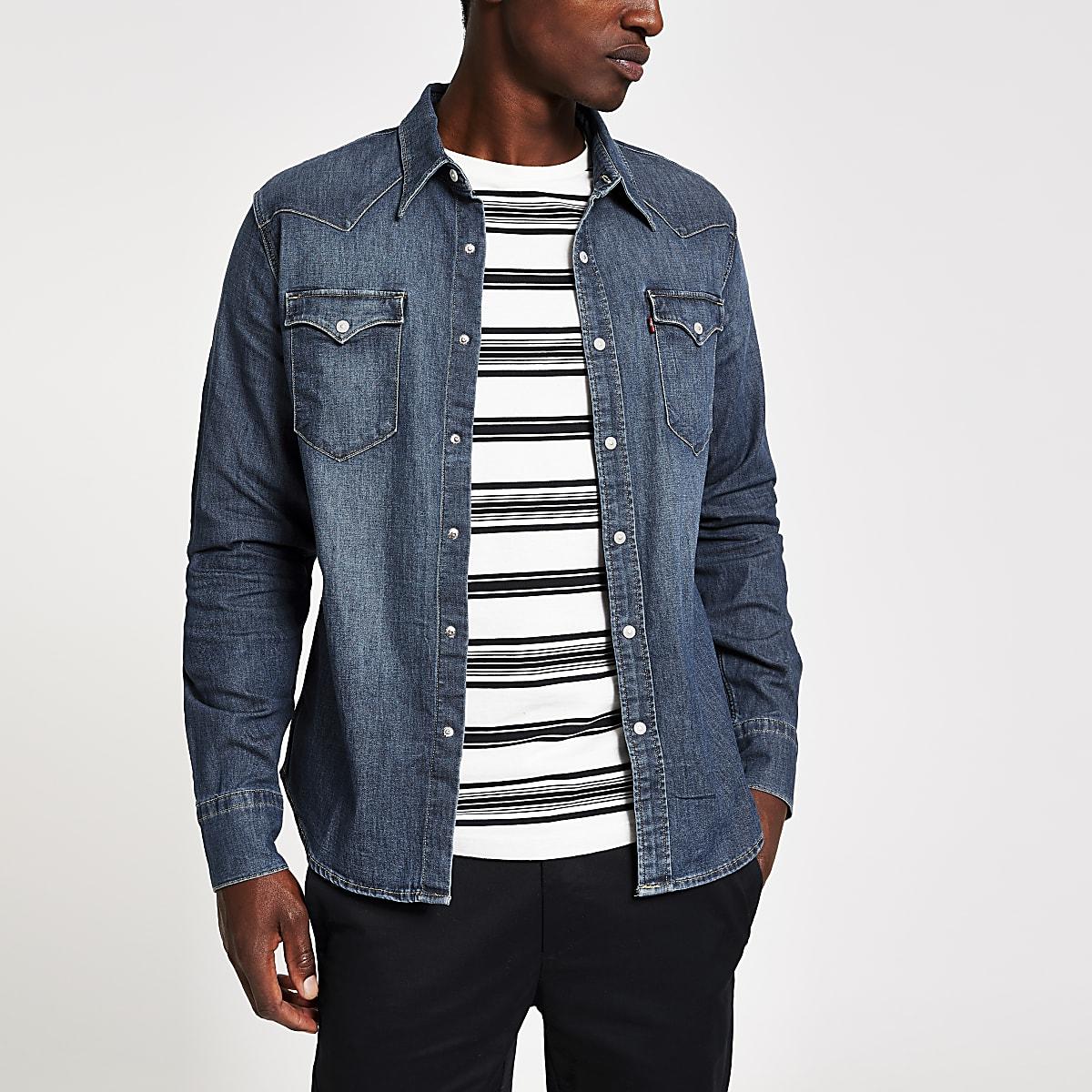 Levi's - Donkerblauw denim overhemd met lange mouwen