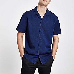 Levi's - Blauw overhemd met korte mouwen