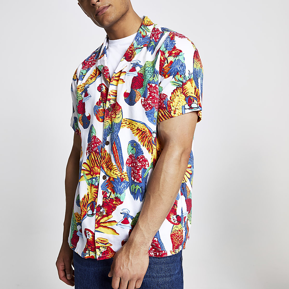 Levi's white parrot short sleeve shirt