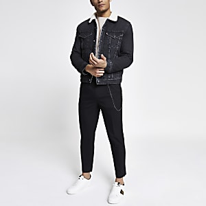 Levi's black fleece trim trucker jacket