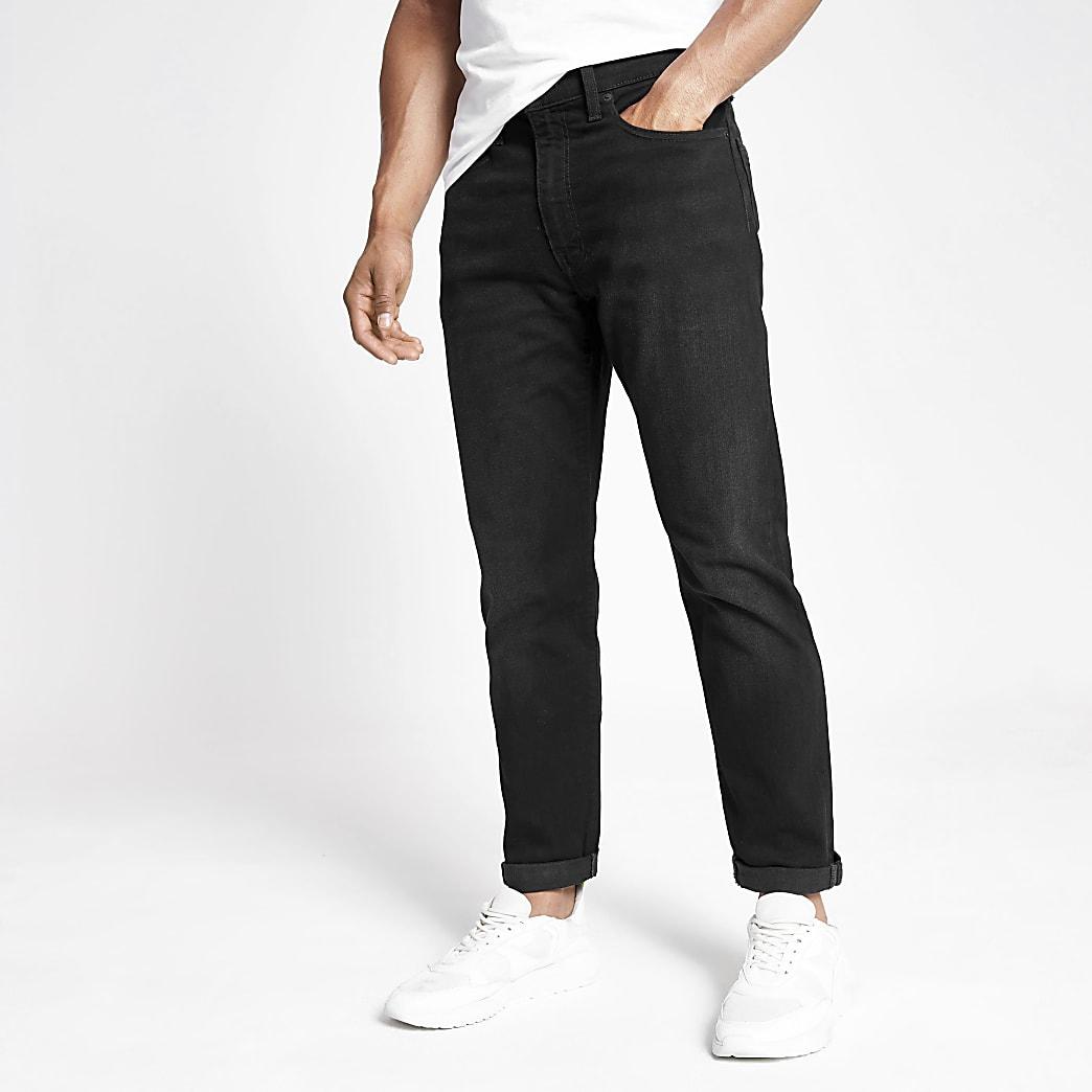 Levi's – Schwarze Jeans mit Umschlag