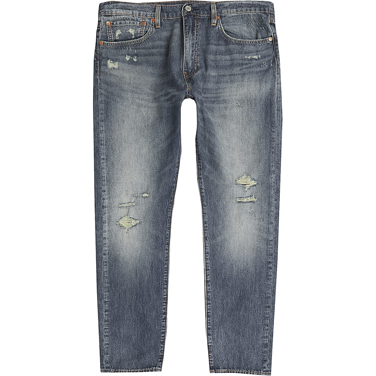 Levi's - Blauwe 512 smalle smaltoelopende ripped jeans