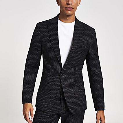 Navy pinstripe skinny suit jacket