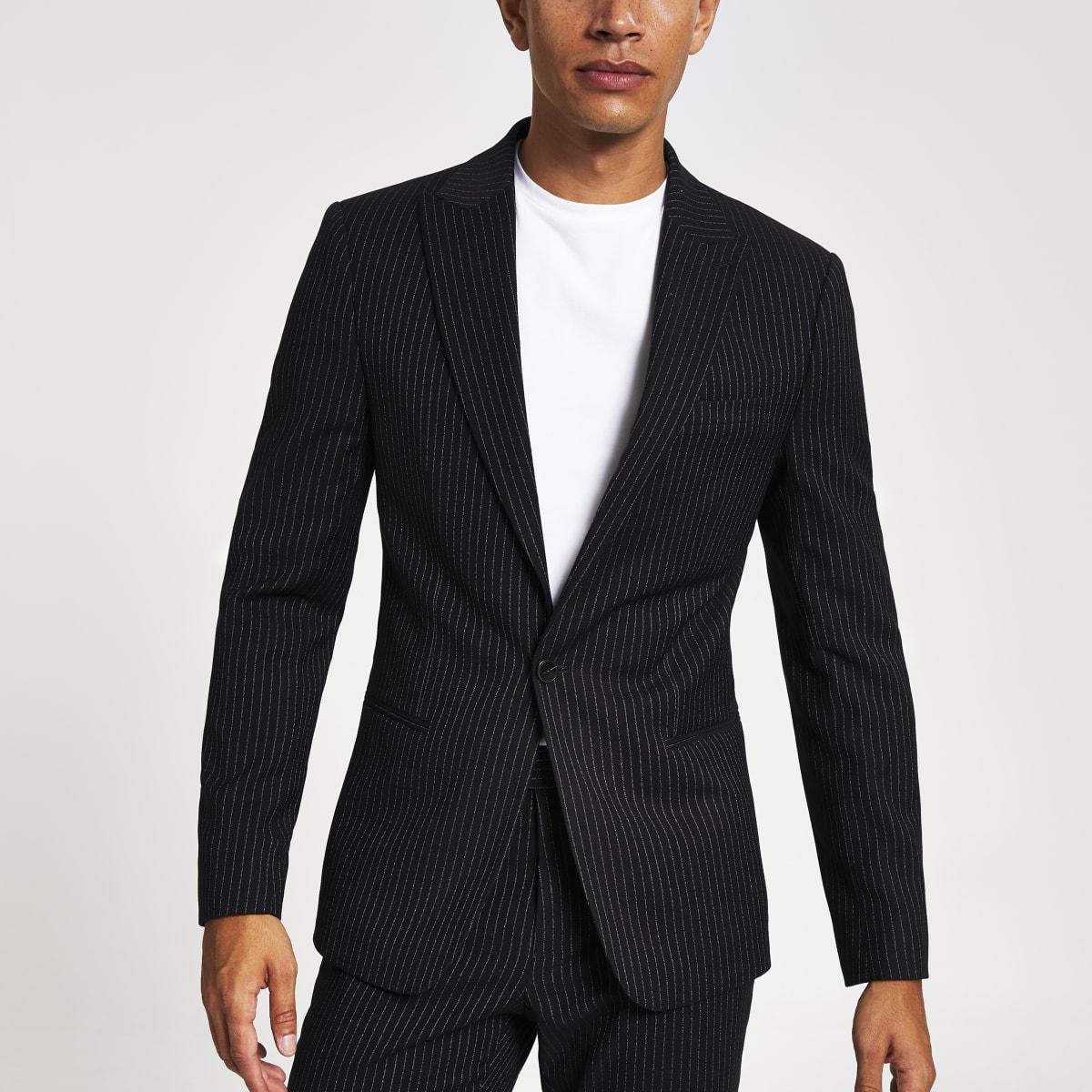 Veste de costume skinny à fines rayures bleu marine