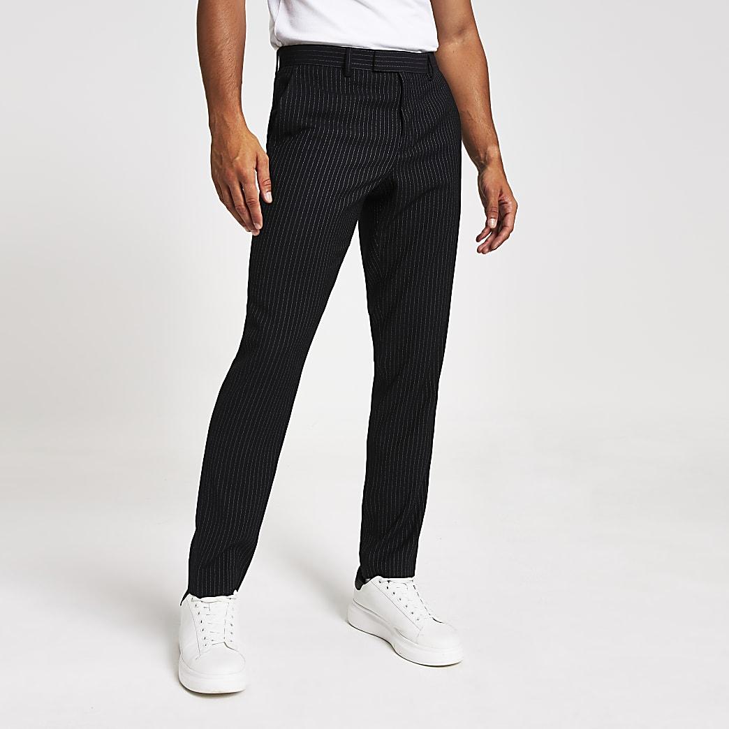Pantalon de costume skinny à fines rayures bleu marine