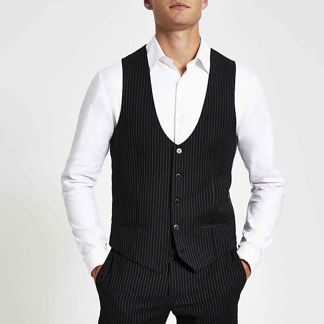 Navy pinstripe print suit waistcoat