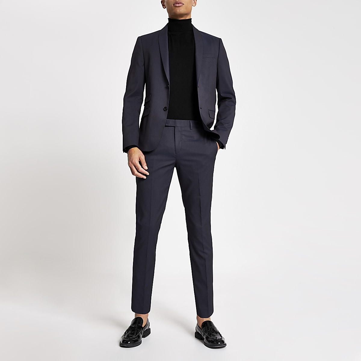 Pantalon de costume coupe skinny violet