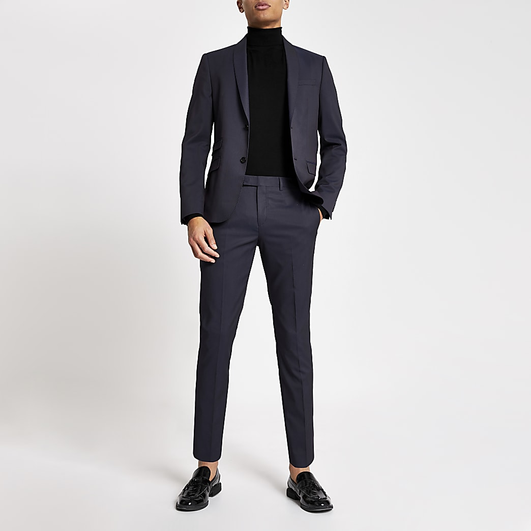 Purple skinny fit suit trousers