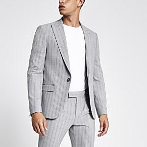 Graue, gestreifte Skinny Anzugsjacke
