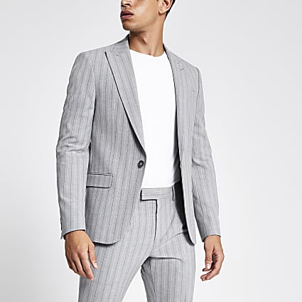 Grey stripe skinny suit jacket