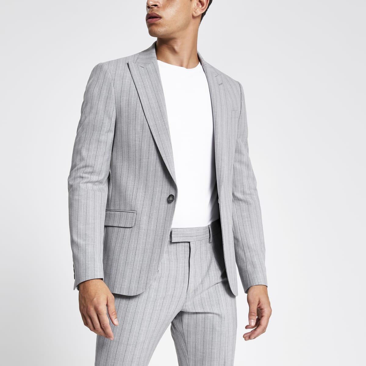 Veste de costume skinny à rayures grise