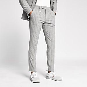 Grau gestreifte, schmale Anzughose