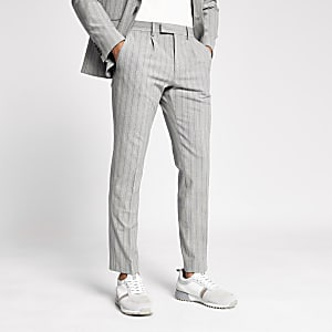 Grey stripe skinny suit pants
