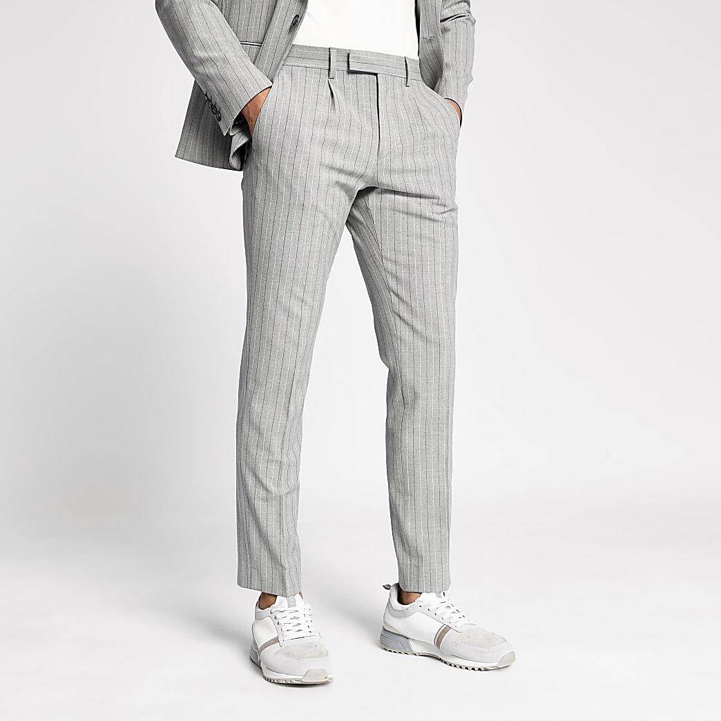 Pantalon skinny rayé gris