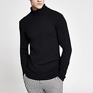 T-shirt slim noir col roulé à manches longues