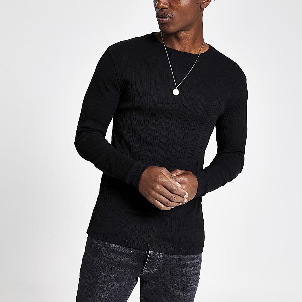 T-shirt slim noir côtelé à manches longues