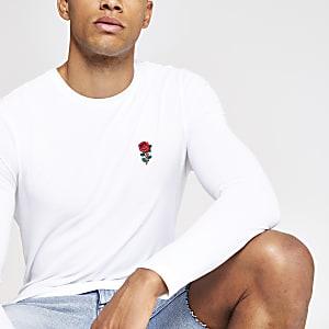 Wit aansluitend T-shirt met lange mouwen