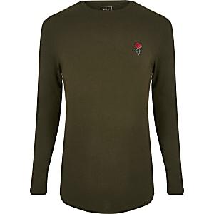 T-shirt ajusté vert foncé à manches longues