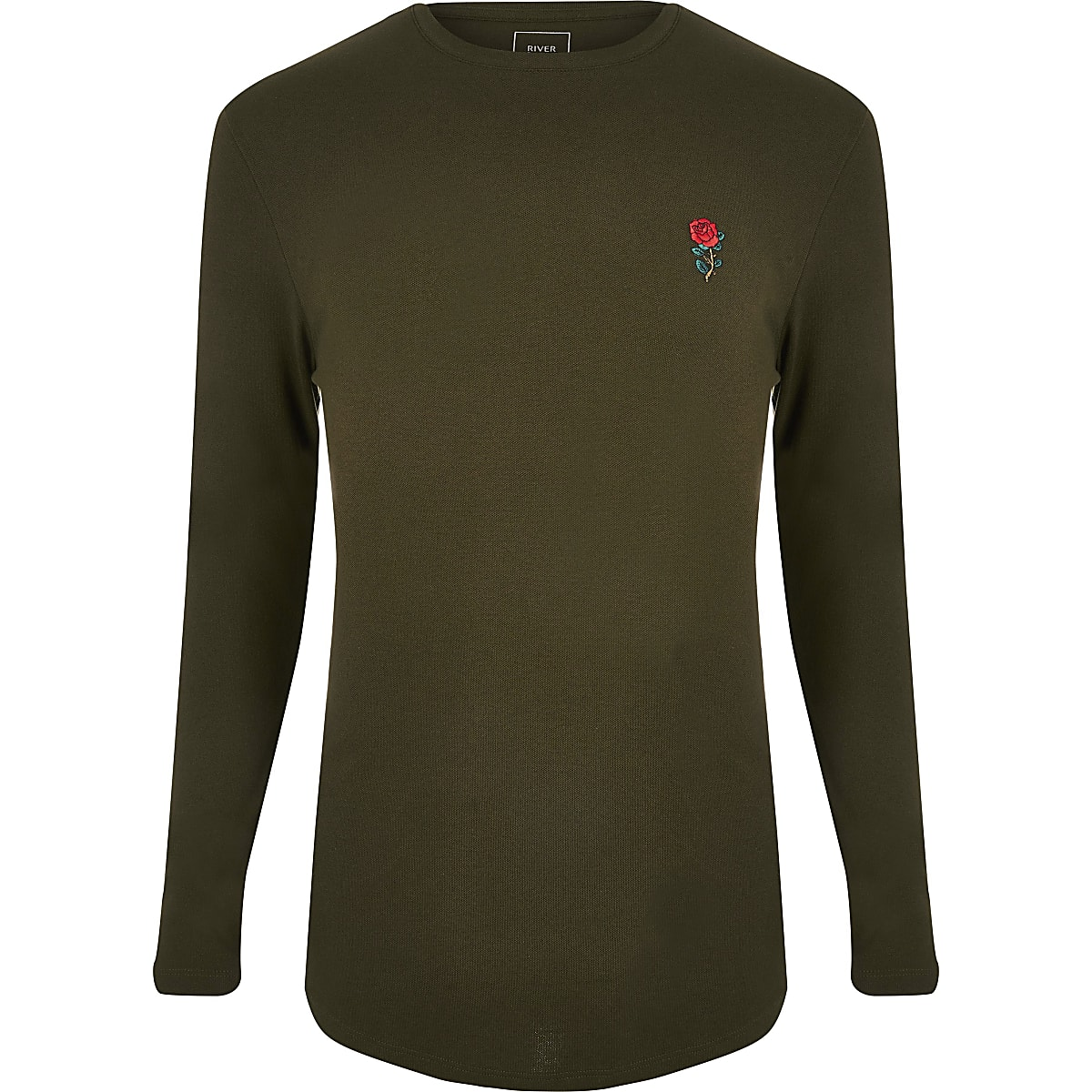 Dark green muscle fit long sleeve T-shirt