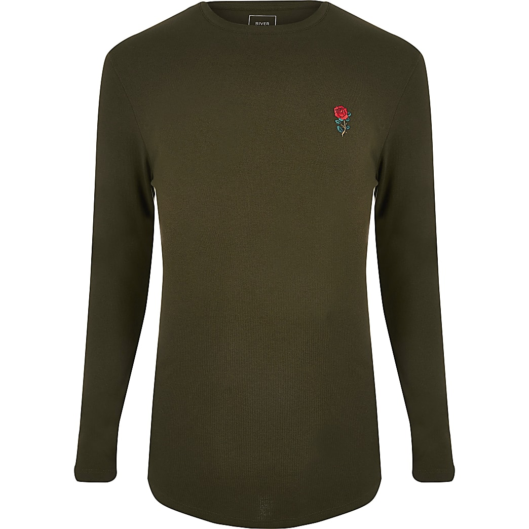 Dark green muscle fit long sleeve T-shirt
