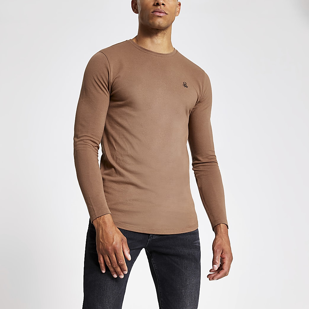 Brown R96 muscle fit long sleeve T-shirt