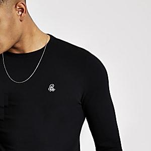 T-shirt ajusté R96 noir à manches longues