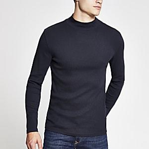 Marineblauw slim-fit T-shirt met col en lange mouwen