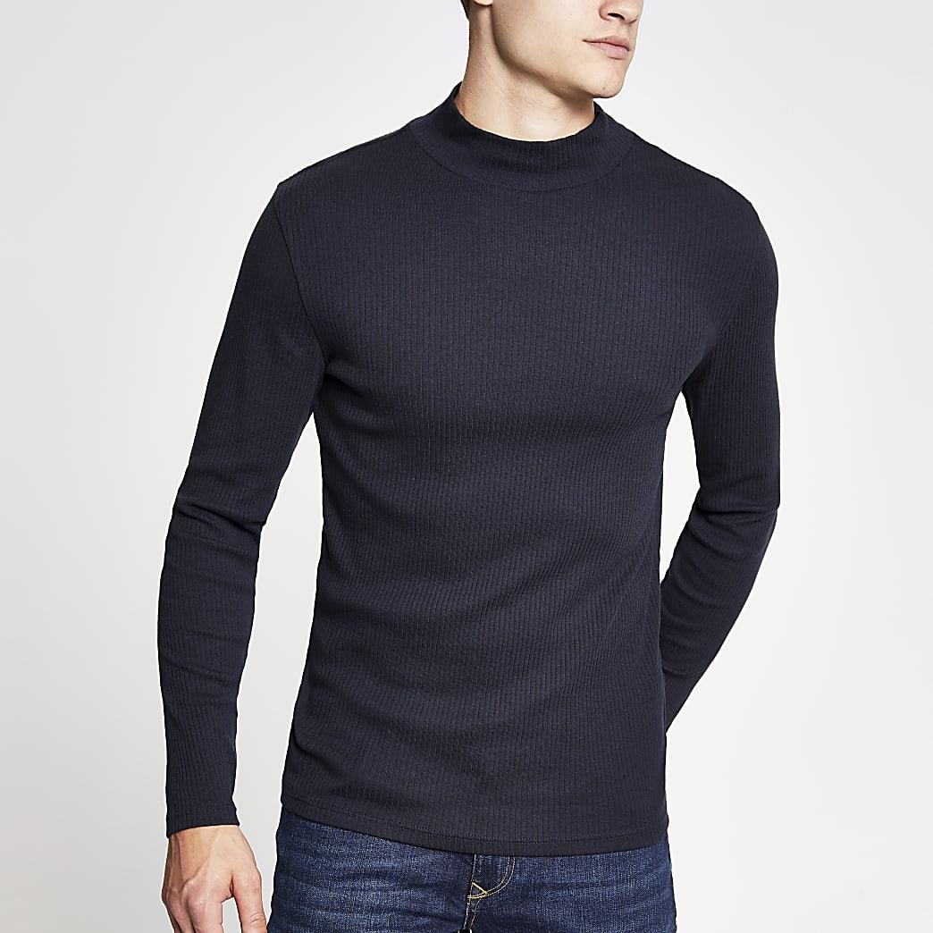 T-shirt slim bleu marine à manches longues et col montant