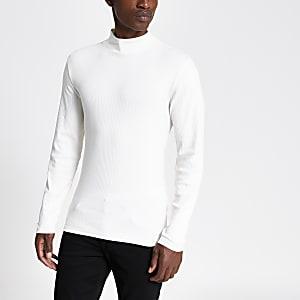 T-shirt slim grège à manches longues et col montant