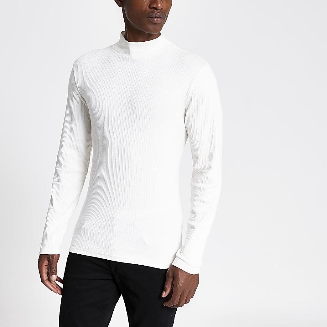 Kiezelkleurig  T-shirt met col en lange mouwen