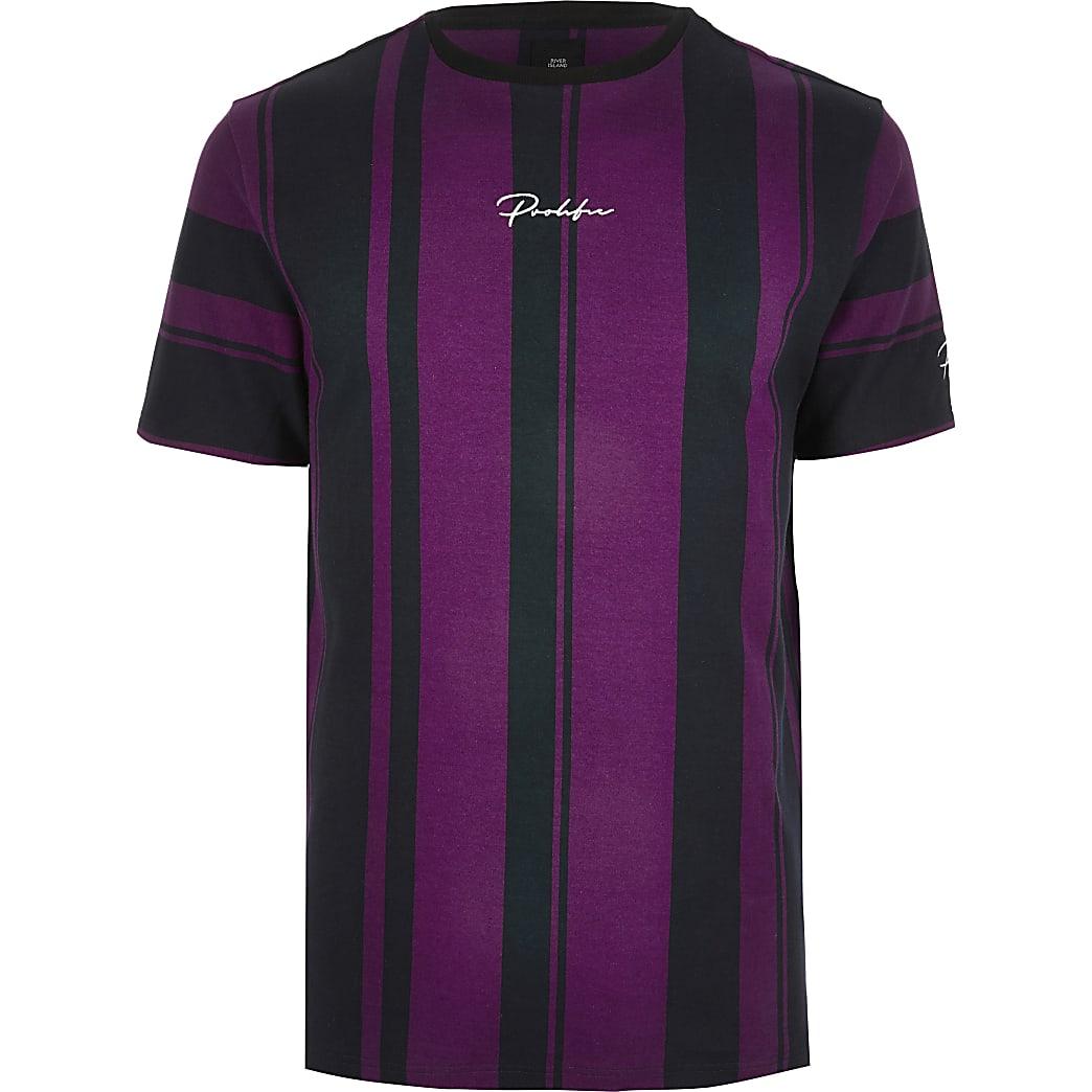 Big and Tall - Paars slim-fit T-shirt met Prolific-print