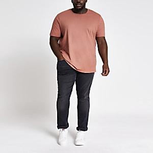Big and Tall light brown slim fit T-shirt