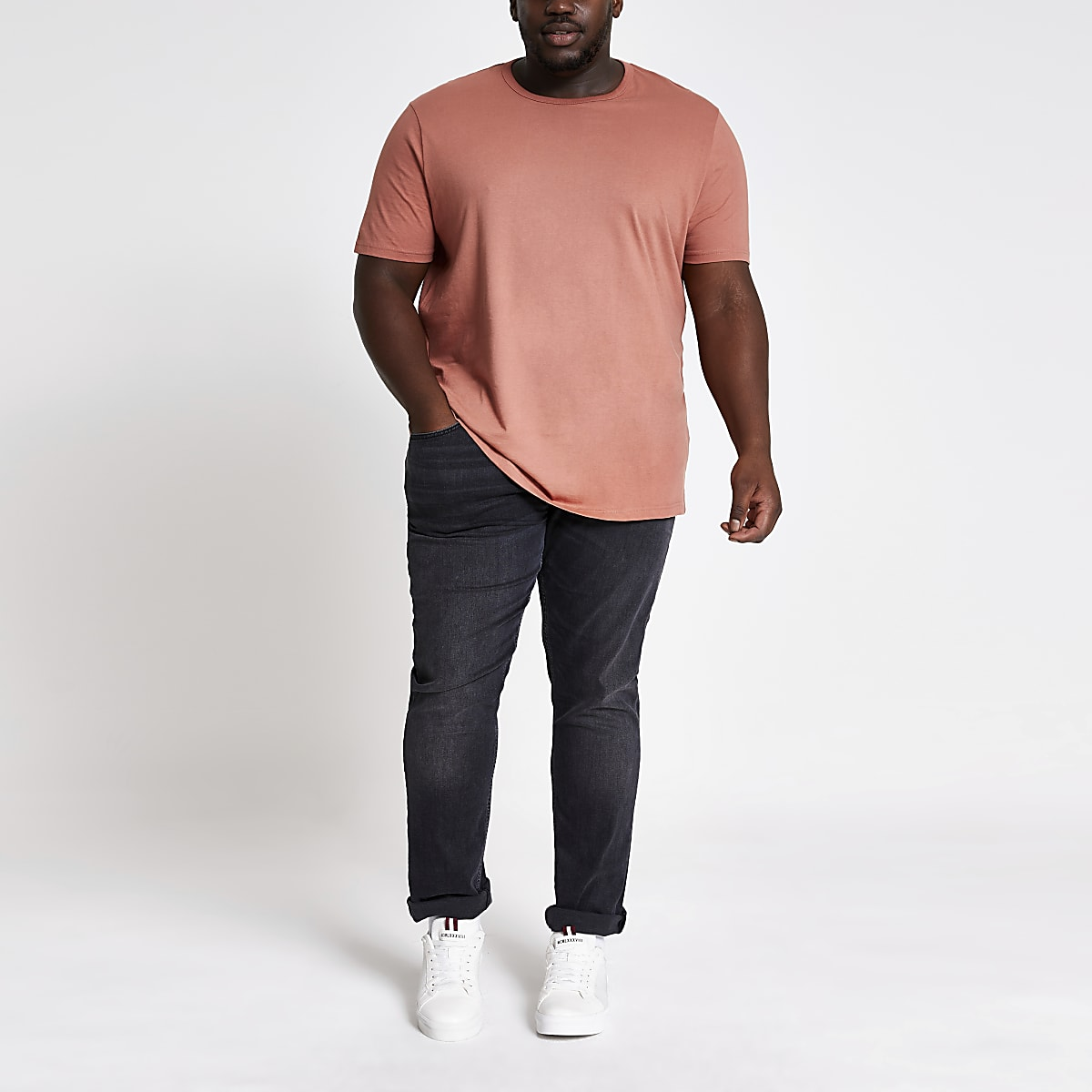 Big and Tall – T-shirt slim marron clair